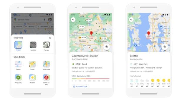 Le informazioni sul tempo e sulla qualità dell'aria verranno visualizzate anche in Google Maps in futuro.